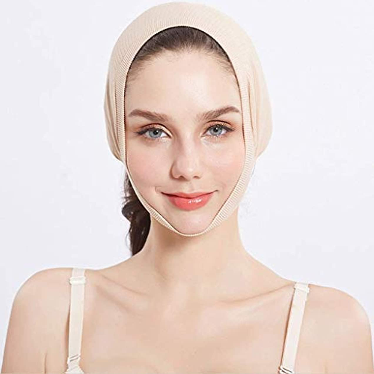 プロポーショナル確立しますドライブHUYYA 女性の顔を持ち上げるベルト、しわ防止包帯 Vライン頬 二重あごの減量顔,Flesh_Medium