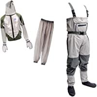 monkeyjack軽量ラバー釣りWader通気性Chest Wader For Fly Fishing + anti-mosquito BeeバグClothing Suitシンフード付きアウトドアワイルド釣り布L