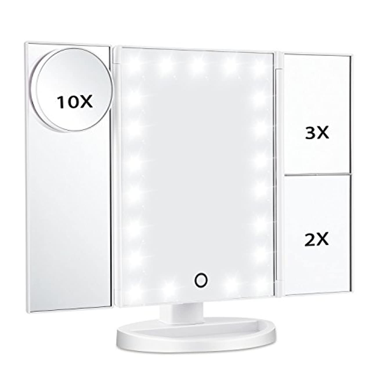 慣れる仲良し病気Magicfly 化粧鏡 LED三面鏡 ミラー 折り畳み式 10X /3X/2X拡大鏡付き 明るさ調節可能180°回転 電池/USB 2WAY給電(ホワイト)