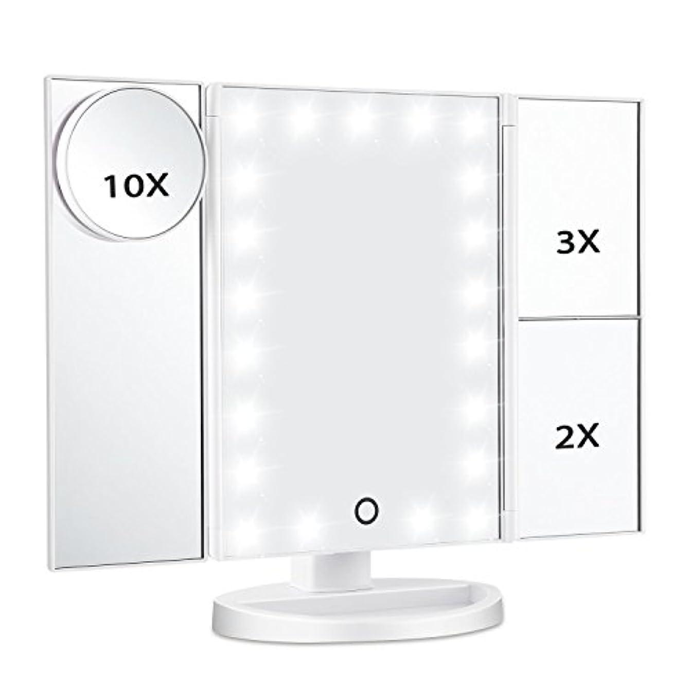 プレゼンテーションペインコメンテーターMagicfly 化粧鏡 LED三面鏡 ミラー 折り畳み式 10X /3X/2X拡大鏡付き 明るさ調節可能180°回転 電池/USB 2WAY給電(ホワイト)