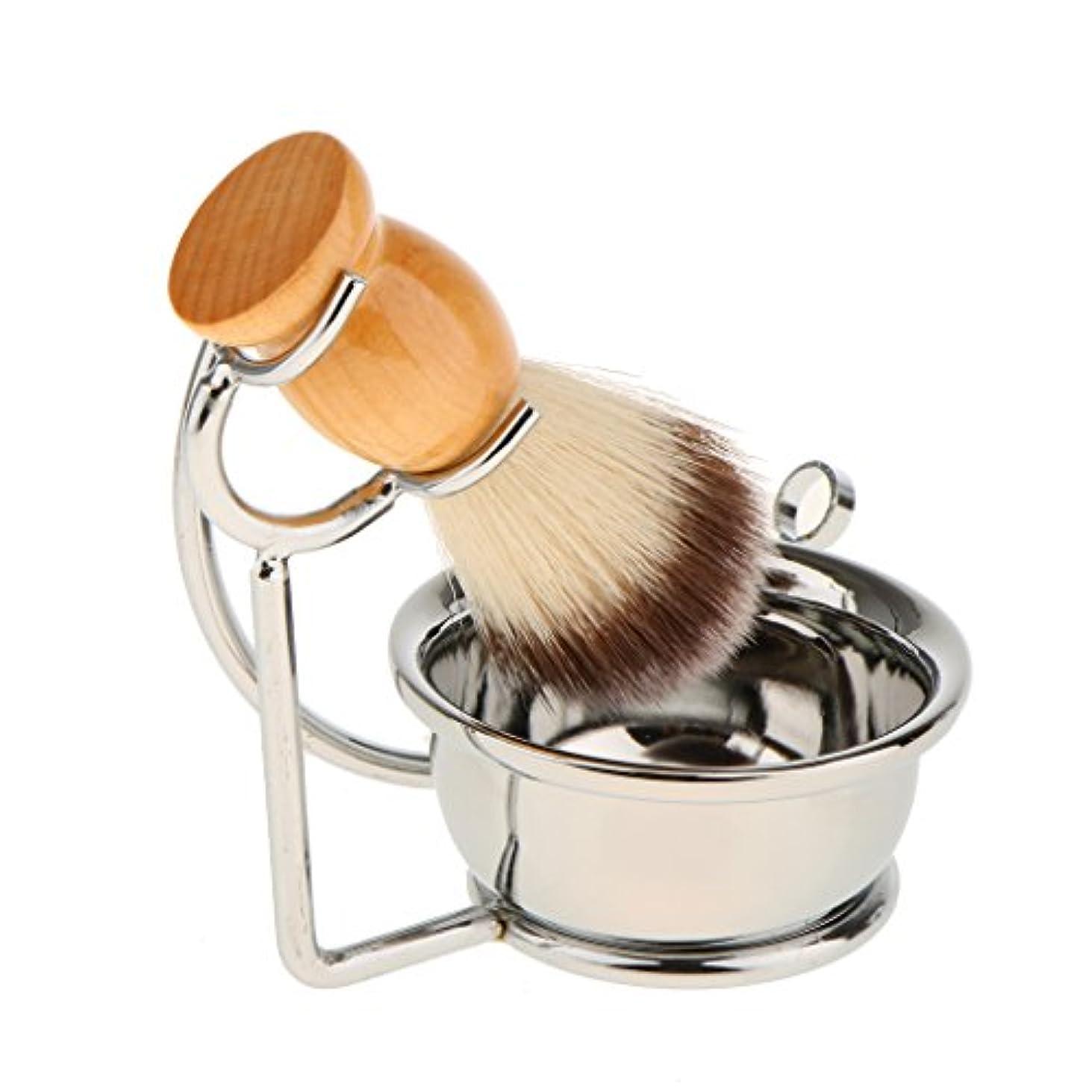 保護する時制持つPerfk 人気 シェービングブラシ 石鹸マグカップ シェービングスタンドホルダー セット 男性用 贈り物