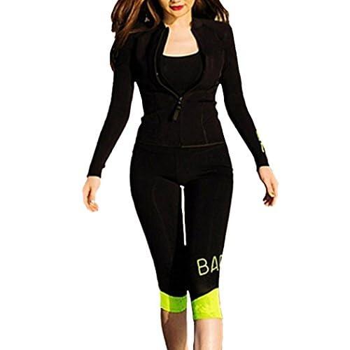 (ラウンドアース レディース) Round Earth Ladies ウェット スーツ 長袖 上下 セット ネオン カラー の アクセント が クール ジッパー で 着脱 楽チン XL ブラック