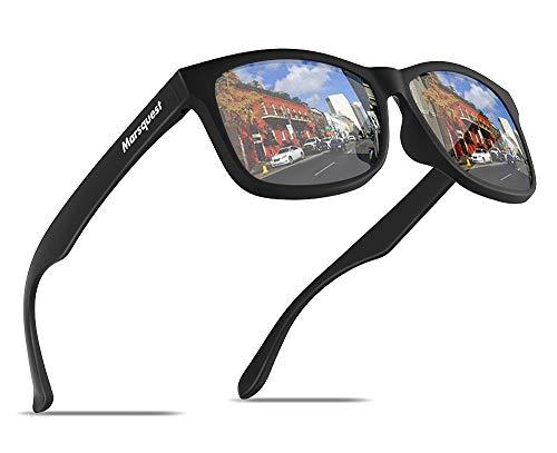 MARSQUEST 偏光 サングラス 偏光レンズ ウェリントン型 ミラー サングラス 超軽量フレーム採用 表面に特殊なコーティング技術加工 UV400紫外線・反射光・強光眩しい光・グレアからカット 一体式鼻当 落下防止デザイン 超抗衝撃 自転車・ドライブ・ランニング・釣り・登山・トレッキングなどスポーツにも最適 ファッションなデザイン メンズ & レディース用 収納ポーチ付き momentum