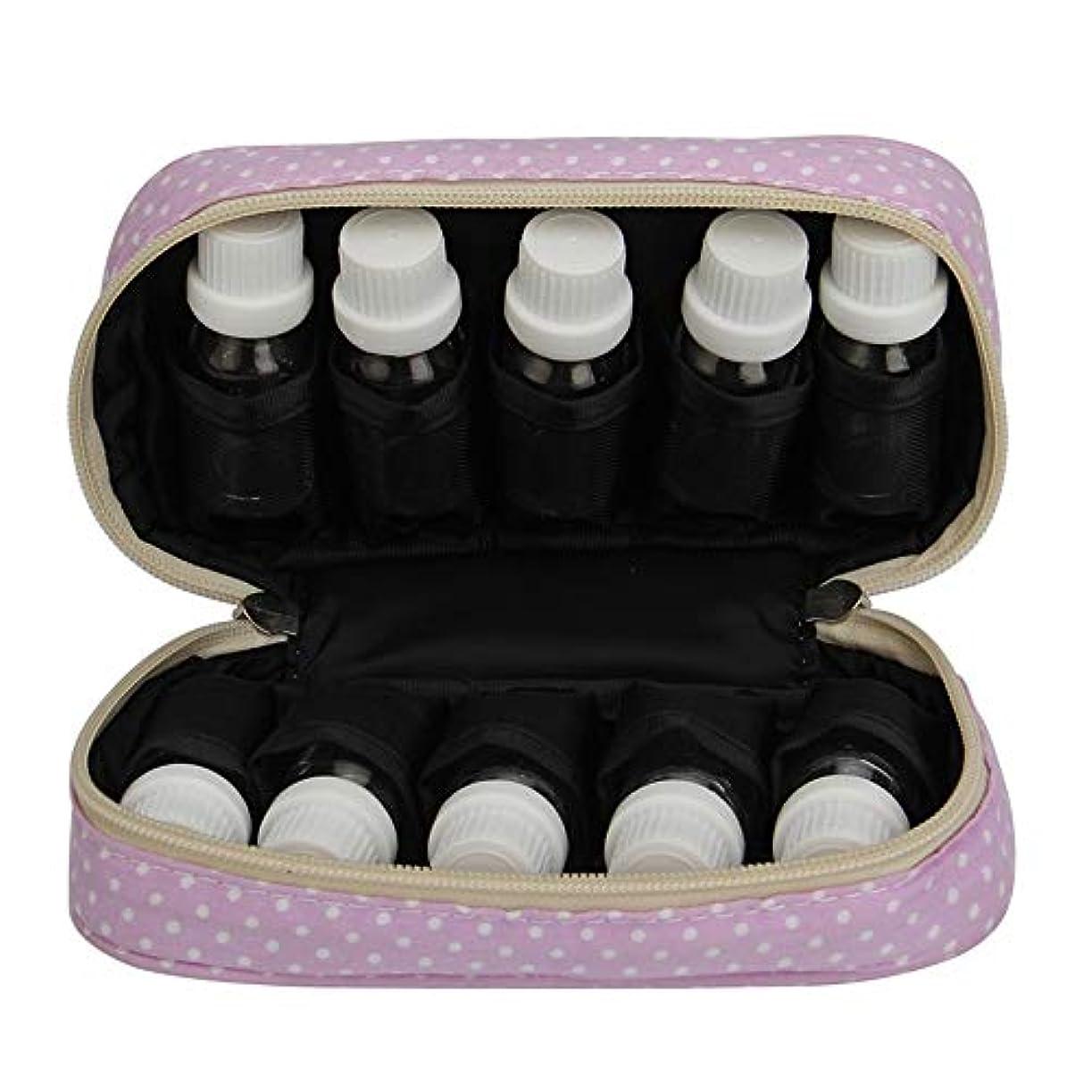 藤色ショットくるみエッセンシャルオイルの保管 エッセンシャルオイルキャリングケースは、10本のボトル10-15MLトラベルオーガナイザーポーチバッグを開催します (色 : 紫の, サイズ : 18.5X11X5CM)