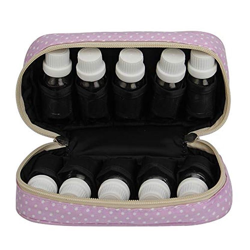 平等運営実行可能エッセンシャルオイルの保管 エッセンシャルオイルキャリングケースは、10本のボトル10-15MLトラベルオーガナイザーポーチバッグを開催します (色 : 紫の, サイズ : 18.5X11X5CM)
