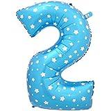 AMAA 風船 数字 0-9 アルミ 誕生日 飾り付け セット ガーランド 風船 バースデー 飾り  組み合わせ 自由 イベント 装飾  ブルー 80cm (数字2)