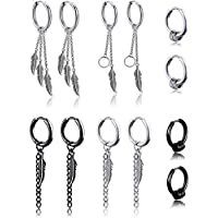 6 Pairs Kpop Feather Earrings Dangling Earrings Stainless Steel Huggie Hoop Earrings Drop Dangle Earring Chain Earrings for Men Women Teen Boys Girls Jewelry Set