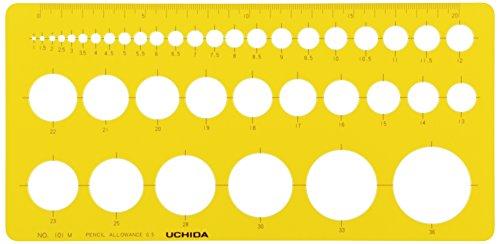ウチダ テンプレート No.101M 円定規 インキエッジ付 1-843-0111