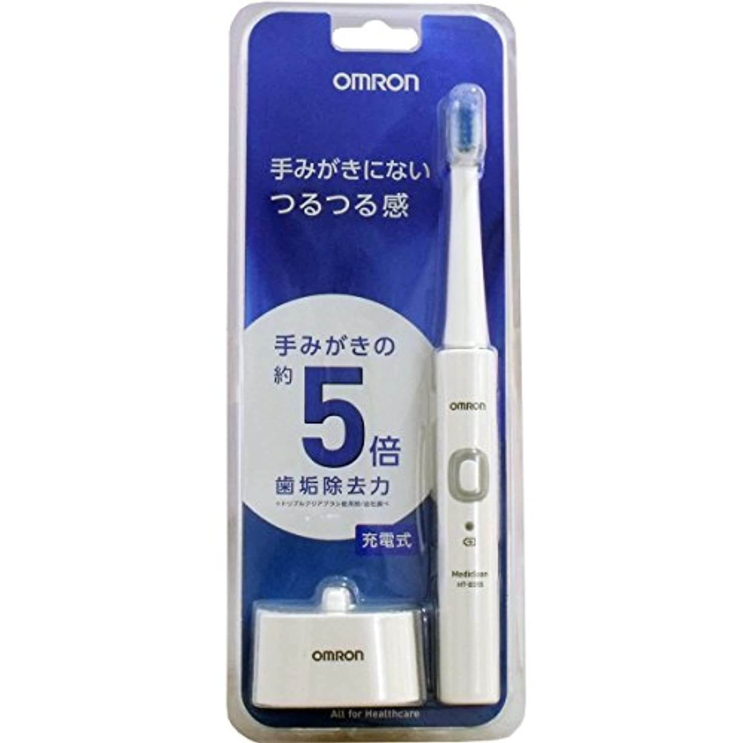 小麦粉嵐が丘ボーダーオムロン電動歯ブラシHT-B305-W