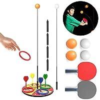弾力性のあるソフトシャフトを備えたパーソナル卓球トレーニングマシン伸縮性のあるロッドインタラクティブな卓球ゲームの大人の子供の調整/反応/能力のための卓球ラケット2台と卓球セット3台