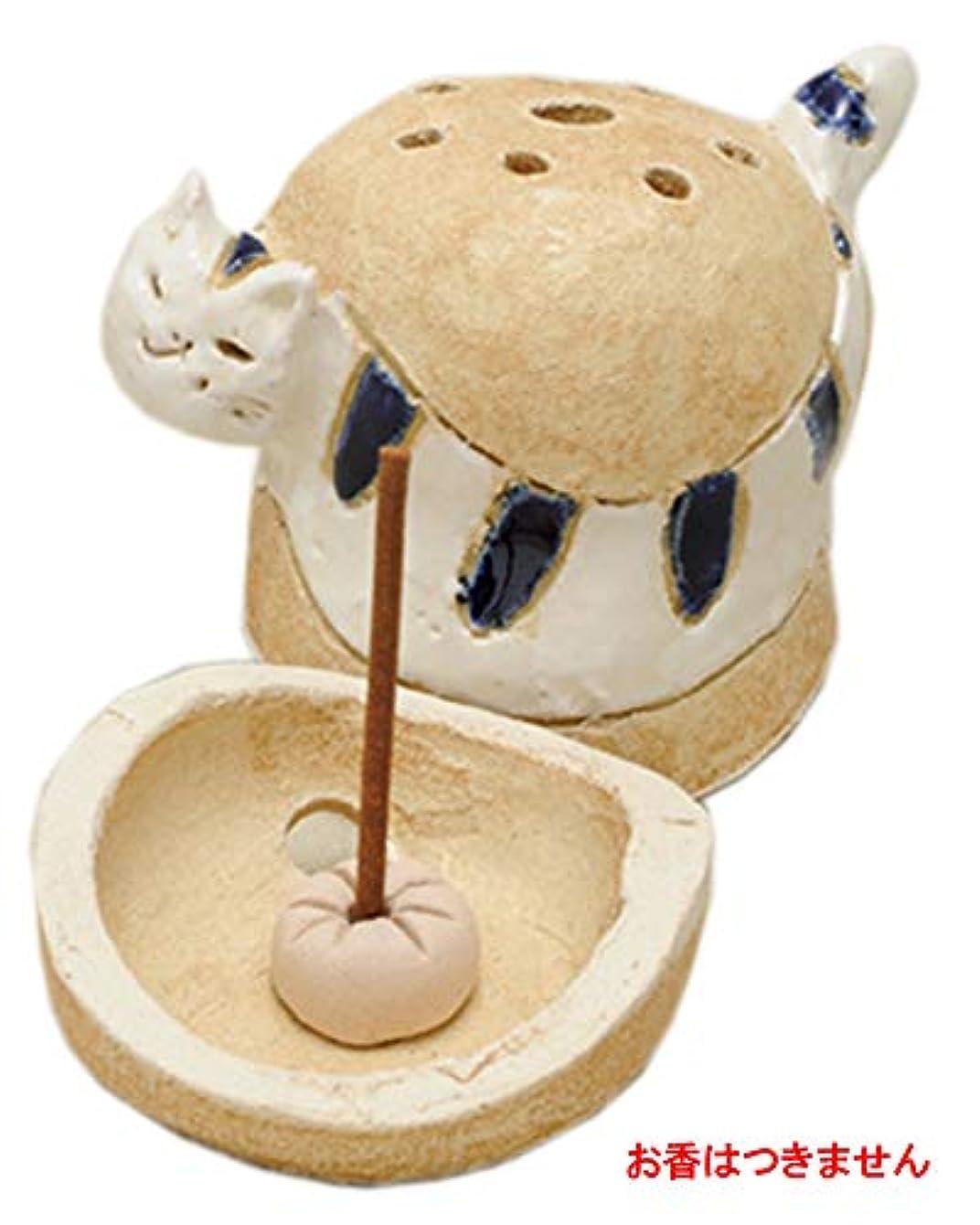 島ねこ 島しまネコ 香炉(青) [R5.5xH8cm] HANDMADE プレゼント ギフト 和食器 かわいい インテリア