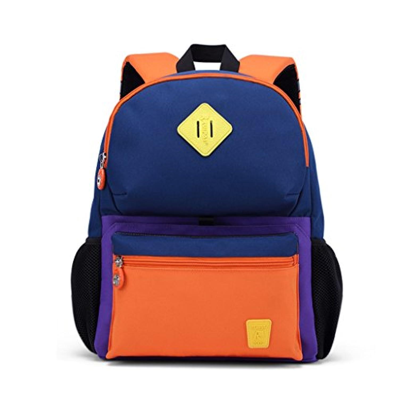 CJH スクールバッグ生徒1-2グレード子供用バッグ男の子と女の子3-4-6歳子供クラスラージクラススクールバッグバックパックチベット青、オレンジ