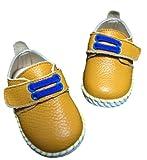 キッズ レザー シューズ 子供 靴 マジックテープ 式 ベビー シューズ (12.5cm, 黄色)