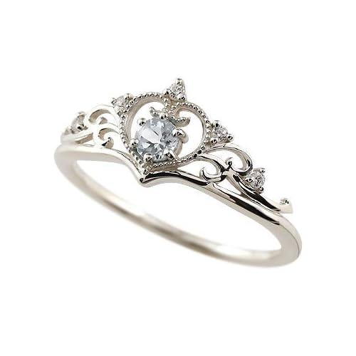 [アトラス] Atrus ティアラリング アクアマリン ミル打ち シルバー ティアラ 王冠 シルバー925 指輪 11号 プリンセス リング 3月誕生石