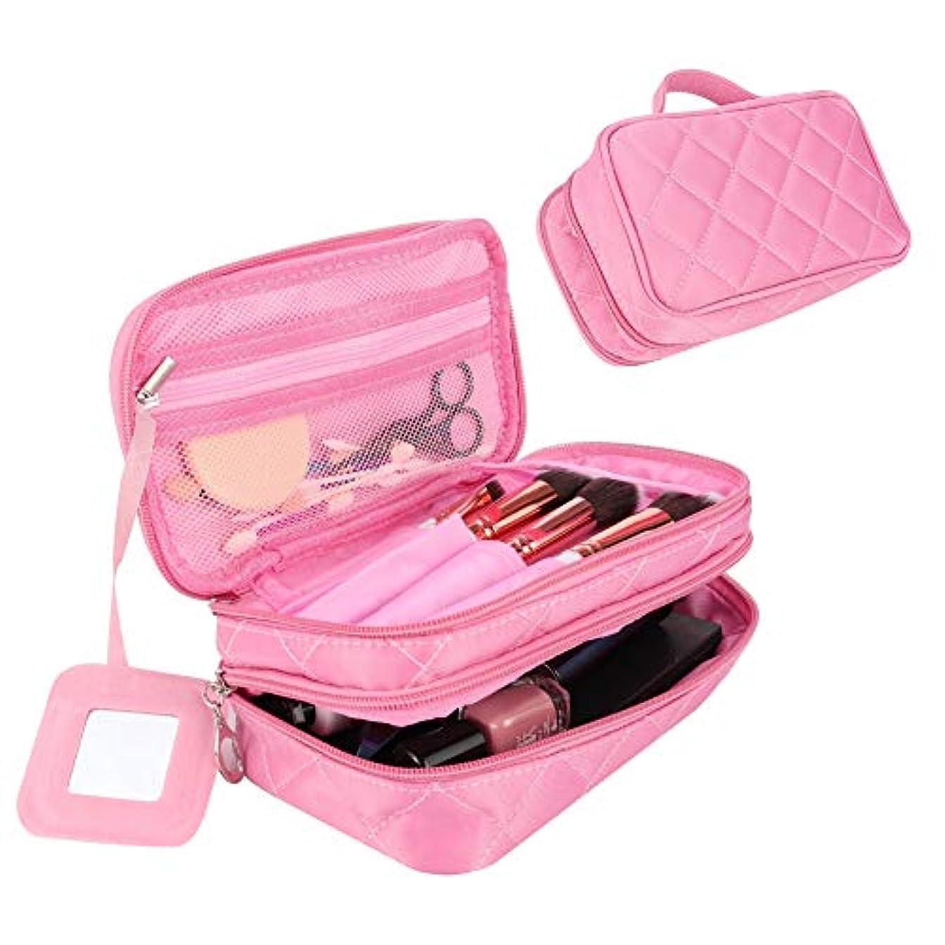 旋回スキルナースAumesa Rano メイクポーチ 機能的 化粧ポーチ 二層あり ブラシ入れ付き 仕切り コスメポーチ 収納 持ち運び 携帯用 防水 鏡付き (ピンク)