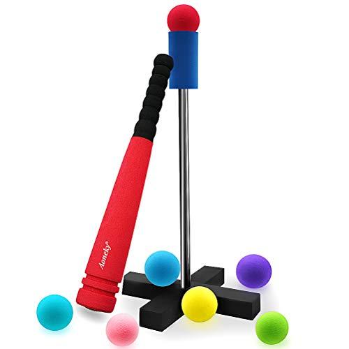 (アワンキー) Aoneky バッティングティー ティーボールセット 42cm スポンジ 野球バット ボール7個 子供用 おもちゃ 安全安心 (レッド)