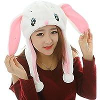 HuaQingPiJu-JP かわいい漫画のパフォーマンスヘッドウェアぬいぐるみ動物の帽子(白ウサギ)