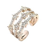 Ruikey 昴 星 指輪 リング レディース フリー サイズ 調整可能 ファッション プレゼント 手飾り 結婚式 婚約 誕生日 記念日 結婚式 バレンタインデー