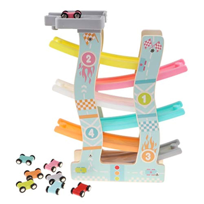 P Prettyia ミニ 6台 車おもちゃ 6層 木製 くるくるスロープ レースカープレイセット おもちゃ