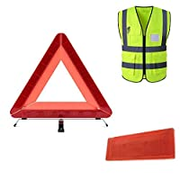 新しい折りたたみ警告トライアングルサイン安全ベスト付き緊急安全警告トライアングル