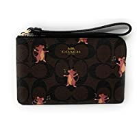 COACH WOMENS CORNER ZIP WRISTLET IN SIGNATURE CANVAS WITH PARTY MOUSE PRINT F87876 BROWN PINK MULTI