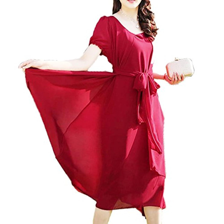 [ココチエ] フォーマル ワンピース ドレス ロング ふんわり シフォン ベルト 半袖 袖あり ブラック レッド グリーン