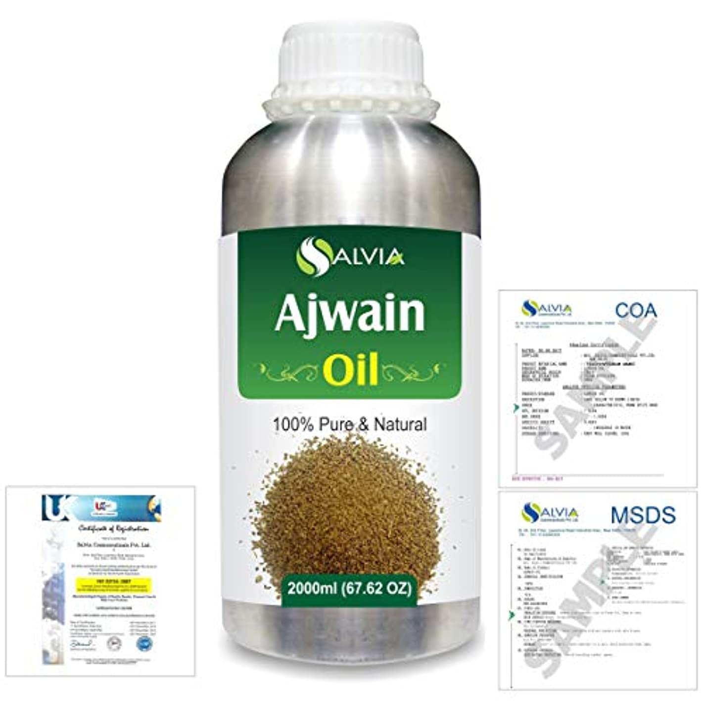 交渉するカートリッジ不確実Ajwain(Trachyspermumammi) 100% Natural Pure Essential Oil 2000ml/67 fl.oz.