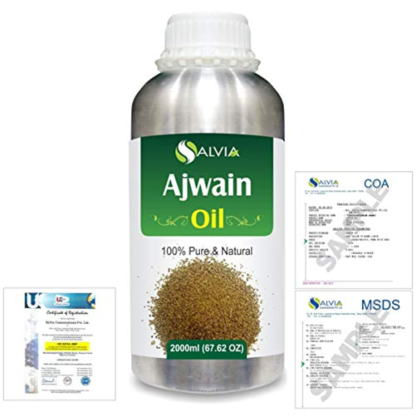 気がついてキープラカードAjwain(Trachyspermumammi) 100% Natural Pure Essential Oil 2000ml/67 fl.oz.