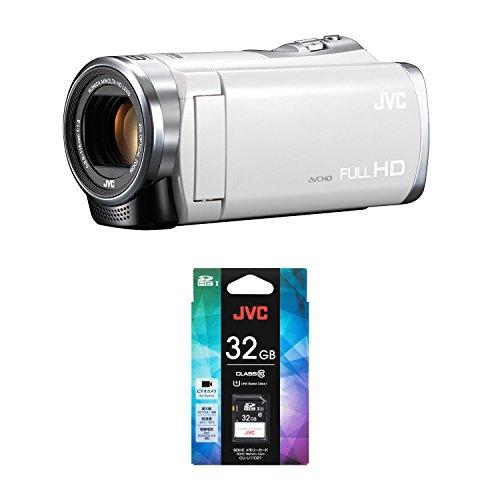 JVCKENWOOD JVC ビデオカメラ Everio 60倍ダイナミックズーム ホワイト + JVC SDHCカード 32GB CLASS10 UHSスピードクラス1
