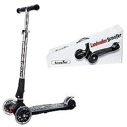 Landwalker キッズ スクーター 子供用 3輪 キックボード LED 光るウィール 後輪ブレーキ 折りたたみ式(ベル付き 風車付き)
