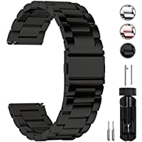 Fullmosa Watch Band 18mm 20mm 22mm 24mm, 3 Colors Quick Release Watch Strap Compatible Samsung Gear S2 Classic,Huawei Watch 2,Moto 360, 20mm Black