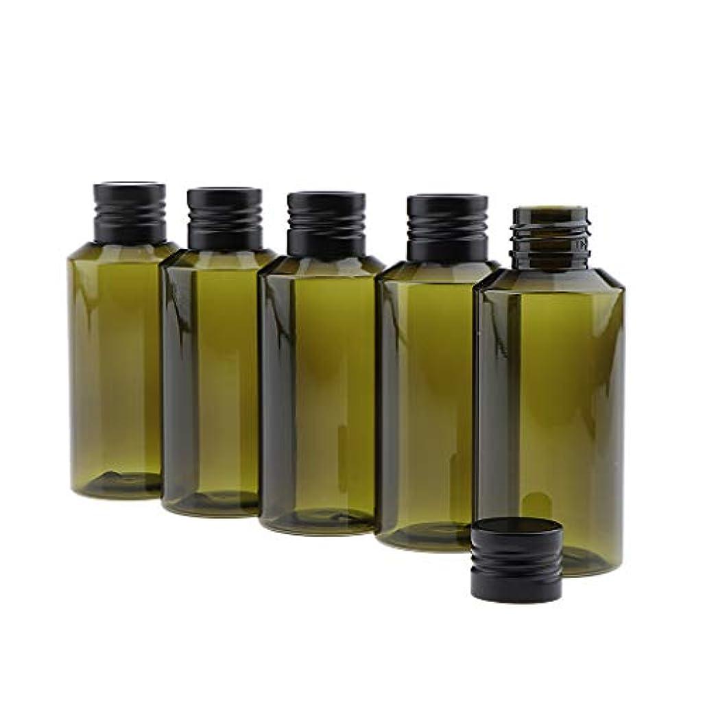 蜂今ツールSM SunniMix 5本 空びん ディスペンサーボトル 化粧品収納容器 100ml 2色選べ - 濃い緑色