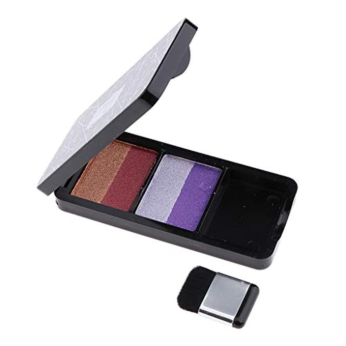 思いやり路地調和T TOOYFUL ブラシが付いている二重色のきらめきのきらめきのアイシャドウの粉パレット - 紫