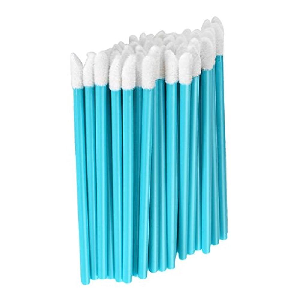 会議船形ペルーFenteer 約50本 メイクアップブラシ リップスティックブラシ 使い捨て リップブラシ リップワンド メイク道具 5色選べる  - 青