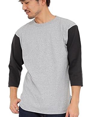 ティーシャツドットエスティー Tシャツ 無地 七分袖 ベースボールTシャツ 6.2oz メンズ(S M L XL XXL)