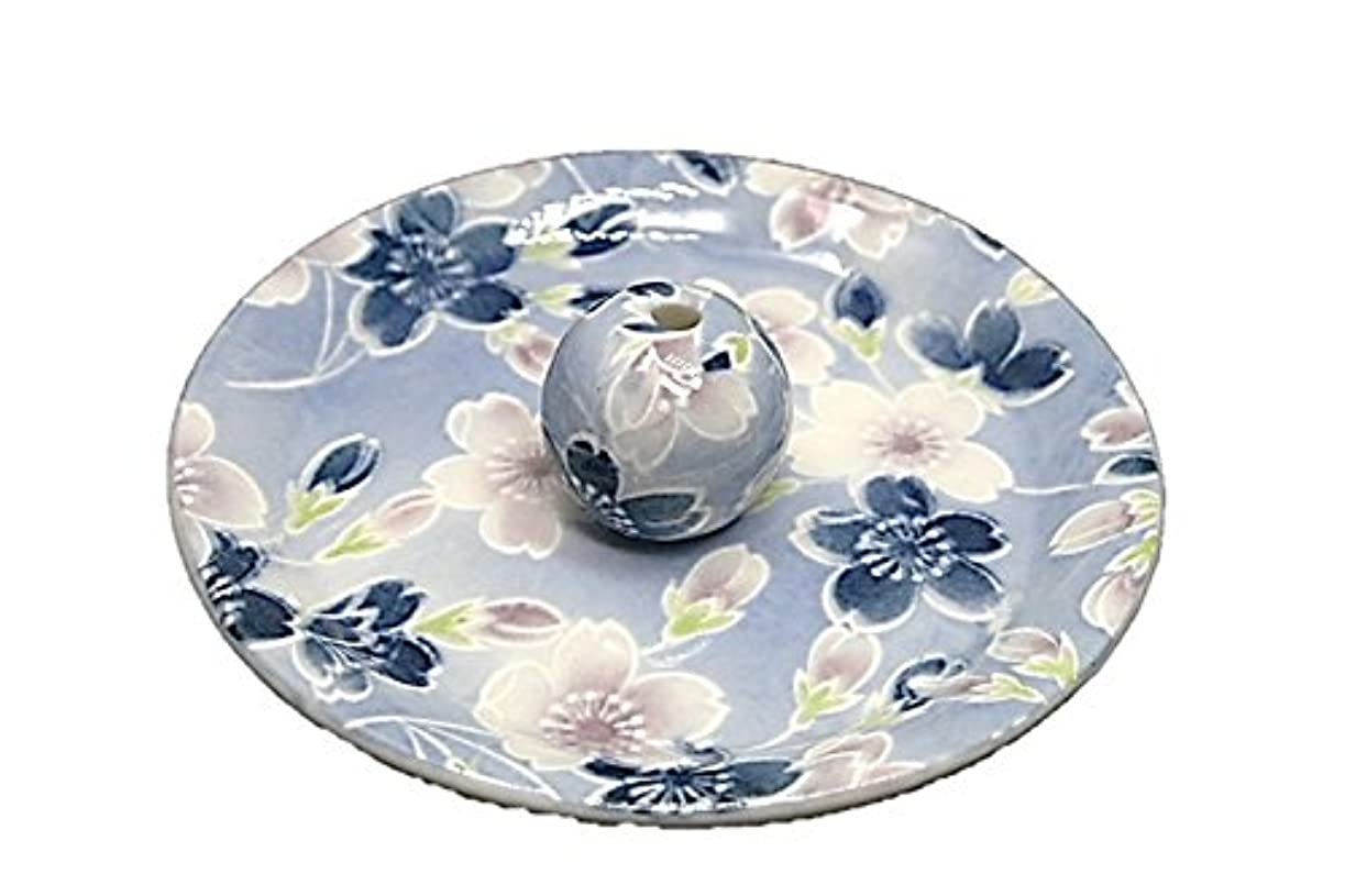 バイアスモルヒネシール9-7 青染桜 9cm香皿 お香立て お香たて 陶器 日本製 製造?直売品
