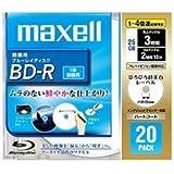 日立マクセル 録画用 BD-R 25GB 4倍速対応 プリンタブル ホワイト ひろびろ超美白レーベル 20枚入 BR25VFWPB.20S