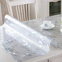 テーブルクロスダイニングテーブルクロス防水&オイルフリーウォッシュ軟質ガラスPVC高温マットテーブルマット透明茶テーブルマット(カラー:A3、サイズ:80 * 130 cm)