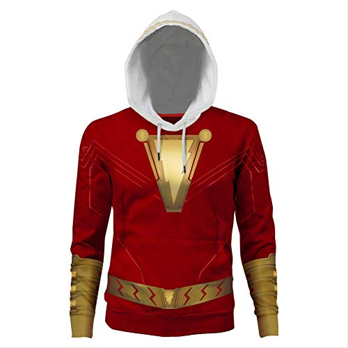 fanituhan シャザム! Shazam! コスプレ パーカー シャザム 風 コスプレ 衣装 イメージパーカー 3Dプリント コート ジャケット 長袖 男女兼用 XL