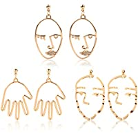 Face Earring Set-ikooo 3 Pair Gold Tone Hypoallergenic Earrings for Girls Teens Women Earrings Including Hollow Face Hand Shape Gold Statement Earrings