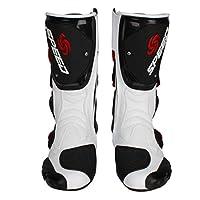 レーシングブーツ バイク用ブーツ ライディングシューズ メンズオートバイ靴 プロテクトスポーツブーツ バイク用靴 (25.5-26cm)41サイズ ホワイト
