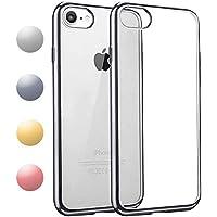 iPhone7 / iPhone8 ケース TPU 【COOLOO】透明 ソフト クリア メッキ加工 耐衝撃 最軽量 超薄型 一体型 人気 オシャレ 4.7インチ アイフォン 7 用 (ブラック)