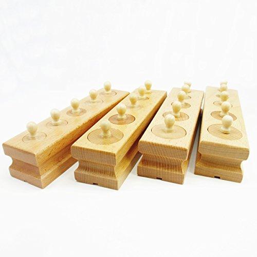 TOYBATROSS モンテッソーリ 知育玩具 パズル 木のおもちゃ 積み木 幼児 教育 円柱さし (シリンダーブロック)