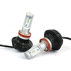 「SUPAREE」Lumileds LUXEON ZES チップ採用 LED ヘッドライト H11 H8共用 車検対応 8000Lm 6500k 25W 12V 24V兼用 ファンレス一体型 LED角度調整可能 高輝度 2個セット ハロゲンフィラメント