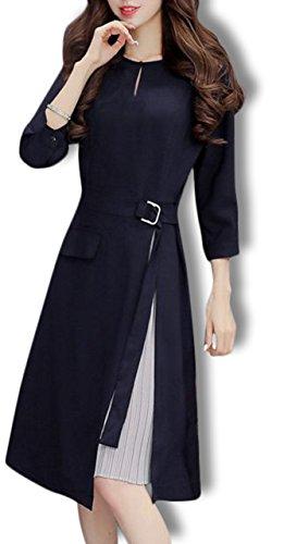 [해외](아나토레) Anotre 여성 고급 예쁘게 7 부 소매 무릎 길이 드레스 원피스 M-XXL/(Anatole) Anotre Women`s Elegant Cleaning 7 Minute Sleeve Knee Length Dress One Piece M - XXL