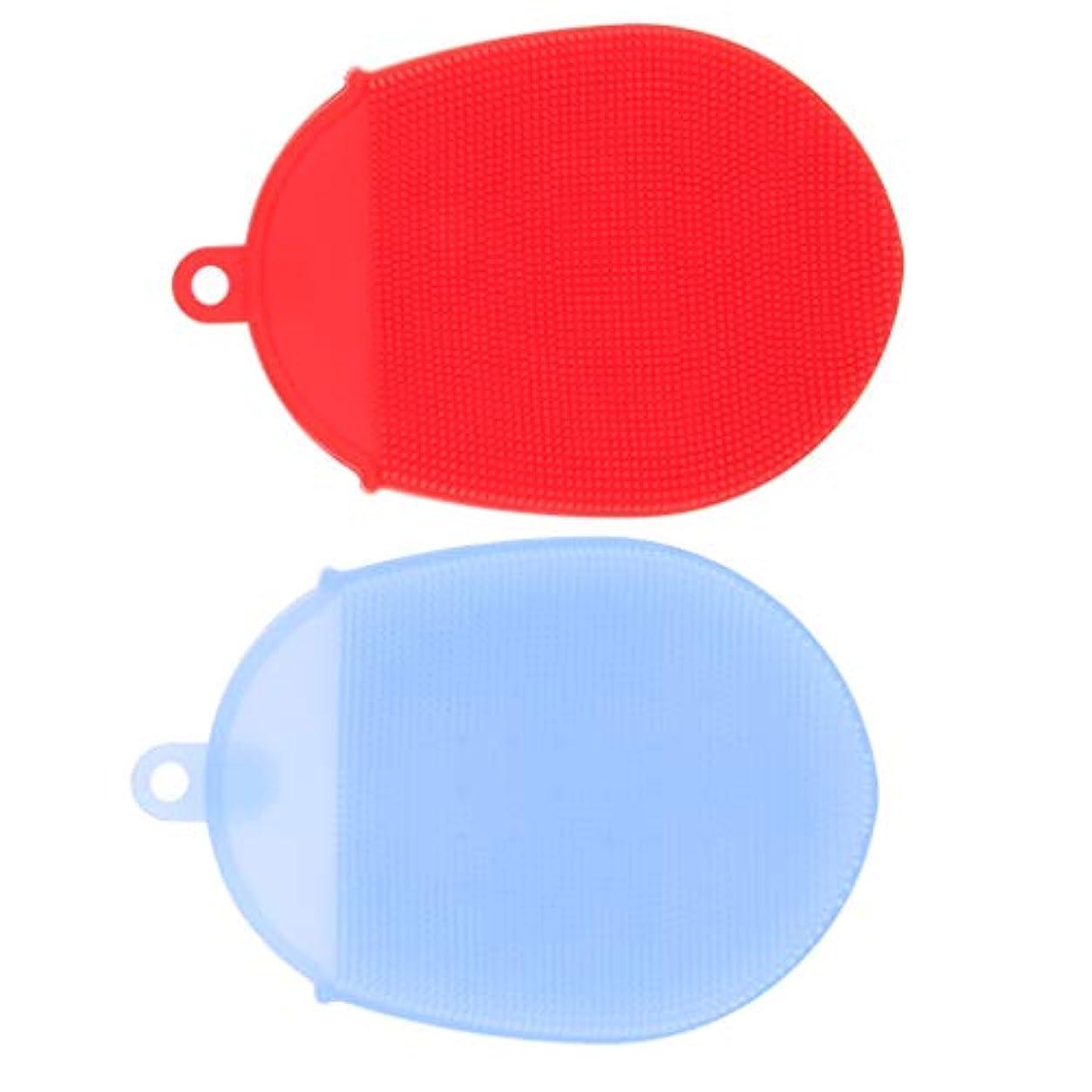 わざわざ出来事フクロウdailymall 2 /パックソフトシリコンボディスクラバーエクスフォリエイティンググローブシャワークレンジングブラシ、スパマッサージスキンケアツール-レッド&ブルー