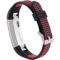 Xberstar Fitbit Alta HR/Fitbit Alta バンド ベルト スポーツバンド シリコン製 汗に強い 6色あり (ブラック+レッド)