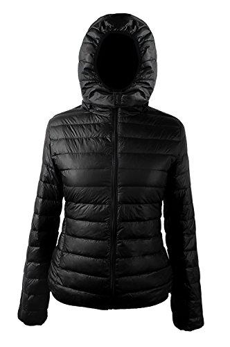 iLoveSIA (アイラブシア) ウルトラライトダウンジャケット 軽量 ノーカラーダウンコート フード付き 撥水加工 黒 L「US08」