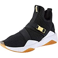 PUMA Women's Defy Mid Varsity WN's Blk-met Shoes, Black-Metallic Gold