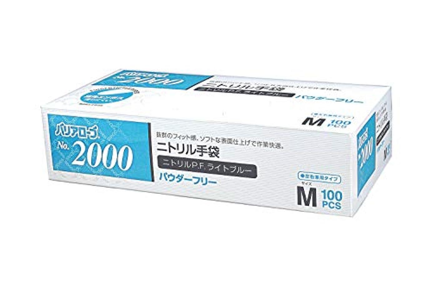 曲泥十億【ケース販売】 バリアローブ №2000 ニトリルP.F.ライト ブルー (パウダーフリー) M 2000枚(100枚×20箱)